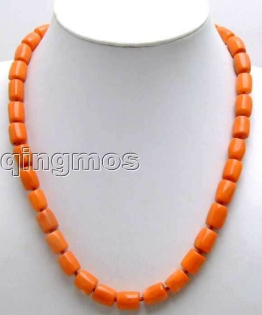 """Sale 10-11mm Pink Thick Slice GENUINE NATURAL Coral 18"""" Necklace-nec5166"""