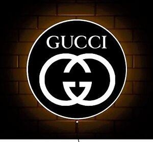Gucci Logo Badge Shop Sign Led Light Box Games Room