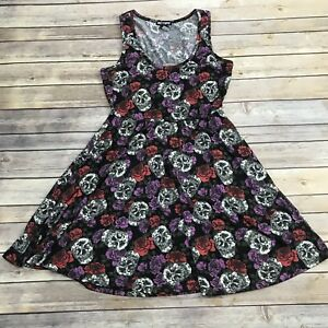 69aba217e4 Hot Topic Size M Skulls & Roses Dress Goth Skater Rockabilly Fit and ...
