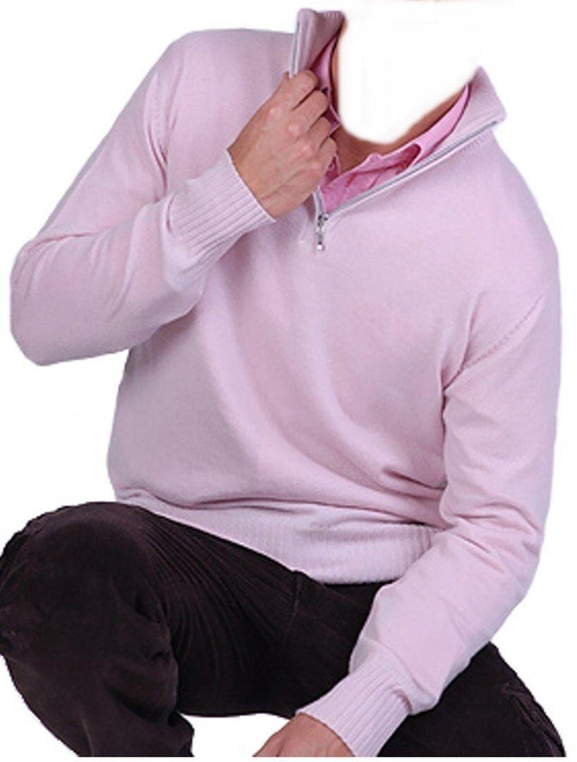 Balldiri 100% Cashmere Cashmere Uomo Pullover Troyer 4 fädig sottilmente rosa L