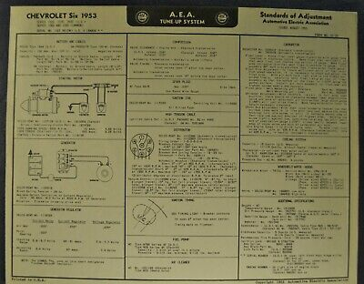 1953 Chevrolet Tune Up Chart Wiring Diagram Bel Air 210 150 Wagon Original 53 Ebay