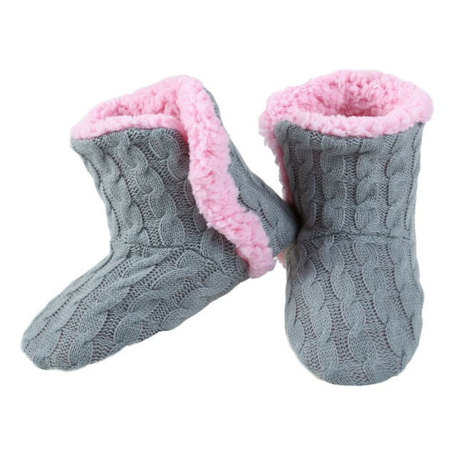 d3c62f70fcc Yelete Womens Cable Knit Slippers House BOOTIES Socks Soft Sherpa ...