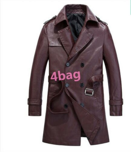 Korean Style Pu Leather Double Breasted Jacket Belt Mens Coat Wind Breaker Lapel