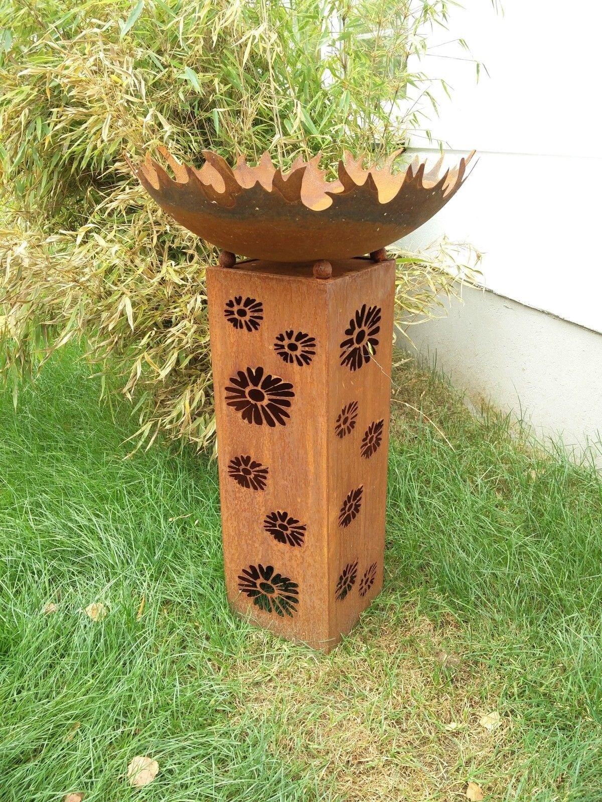 Edelrost Feuerschale Rost,Gartensäule mit Feuerschale50cm,SäuleRost MetallH102cm