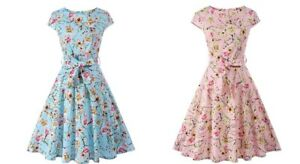 Women-1950s-60s-Vintage-Floral-Style-Rockabilly-Cocktail-Party-Swing-Tea-Dress
