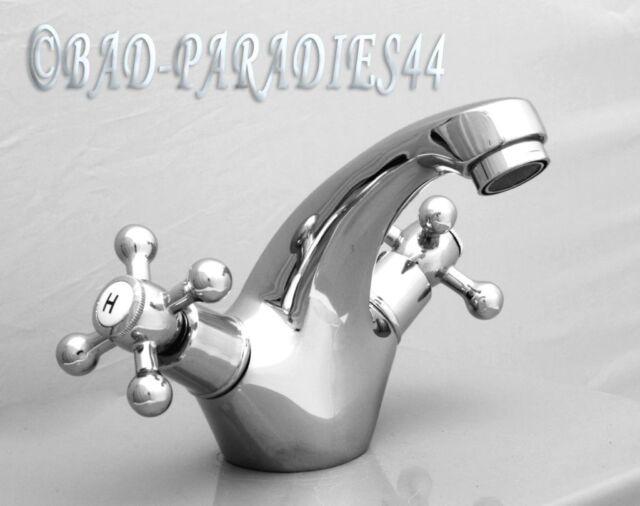 Zweigriffmischer Waschtisch Armatur Wasserhahn Armatur chrom Nostalgiedesign
