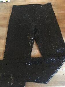 Détails sur H&M Leggings Noir Pailleté Taille 34