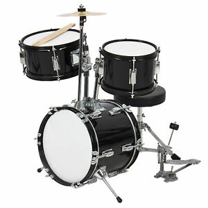 BCP 3-Piece Kids Beginner Drum Musical Instrument Set w/ Sticks, Stool, Pedal