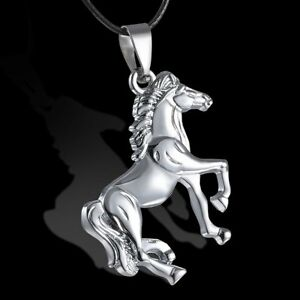 New-Unisex-039-s-Men-Silver-Stainless-Steel-Horse-Pendant-Necklace-Chain