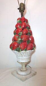 Antique hand made ITALIAN MAJOLICA STRAWBERRY panier de fruits électrique Lampe de table-afficher le titre d`origine SKUKJosw-09090559-545198447