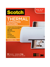 Scotch Thermal Laminating Pouches 89 X 114 Inches 5 Mil Thick 50 Pack