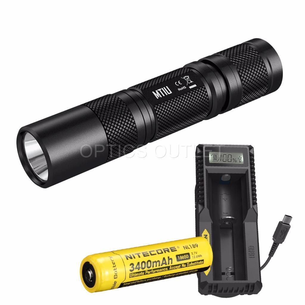 Nitecore MT1U 900mW UV Luz Negra Linterna LED con 3400mAh Batt y UM10 Cargador