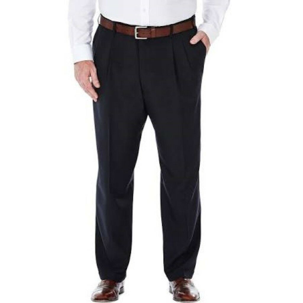 Haggar HD50018 Stria Textured Straight Leg Pleated Front Dress Pants