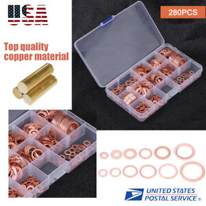 280Pcs-Kit-12-Sizes-Assorted-Solid-Copper-Crush-Washers-Seal-Flat-Ring-w-Case