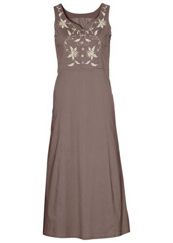 Gr 40 M1077-911055 Tolles ärmelloses Kleid mit Stickerei in Mittelbraun