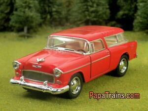 Die-Cast-1955-Red-Chevrolet-Nomad-Model-big-O-Scale-1-43-by-Kinsmart-55-Chevy