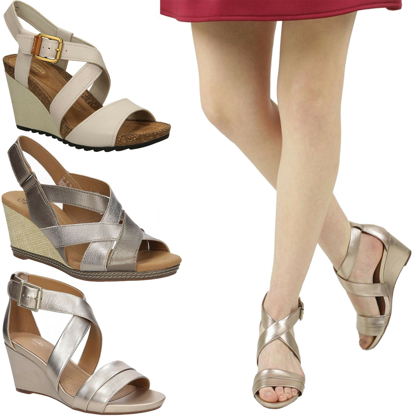 Damen Sandaletten Clarks Acina NEUport 26125768 Leder Keilabsatz Gr. 37-40 SALE