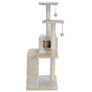 "52"" Cat Tree Multi-Level Kitten Tower Pet Condo Furniture House Sisal Scratching"