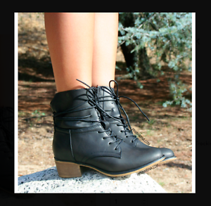 BLACK LACE UP ANKLE BOOTS BOOTIES FASHION NEW HOT SUMMER HEELS FLATS