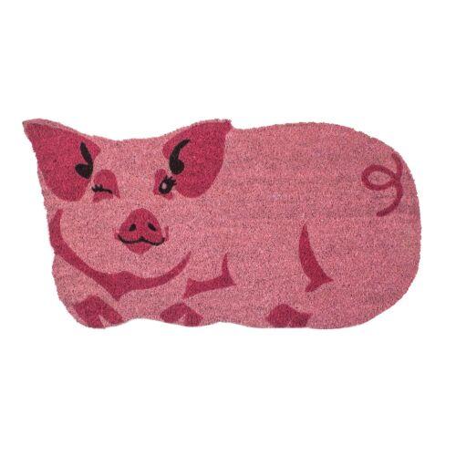 """28/""""x 17/"""" Winking Pink Pig Shaped Doormat Welcome Mat Pink Coir Floor Mat"""