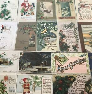Lot-of-25-Vintage-Early-1900-039-s-Christmas-Postcards-Antique-in-Sleeves-m692