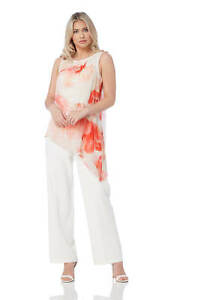 e04cbede6e4 Image is loading Roman-Originals-Womens-Ivory-Chiffon-Overlay-Jumpsuit -Sizes-