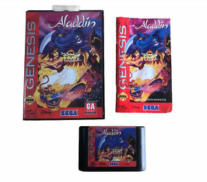 Sega-Genesis-Aladdin-CIB-Cart-Manual-Hang-tab-Case-Tested-Working-1992-Game