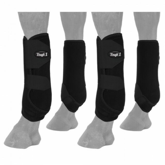 Tough-1 Set of 4 Large Black Easy Breathe Mesh Sport Boots Horse Tack