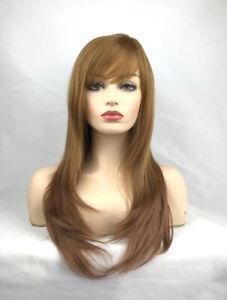 Medium Brown Long Straight Heat Resistant Fiber Full Hair Wig Women Wigs + Cap
