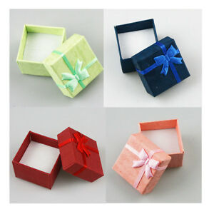24x Paper Cardboard Jewelry Ring Earring Gift Package Storage Case Box 4x4x3cm