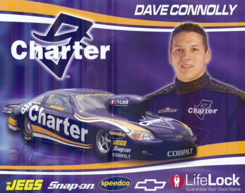 """2008 Dave Connolly Charter /""""1st issued/"""" Chevy Cobalt Pro Stock NHRA postcard"""