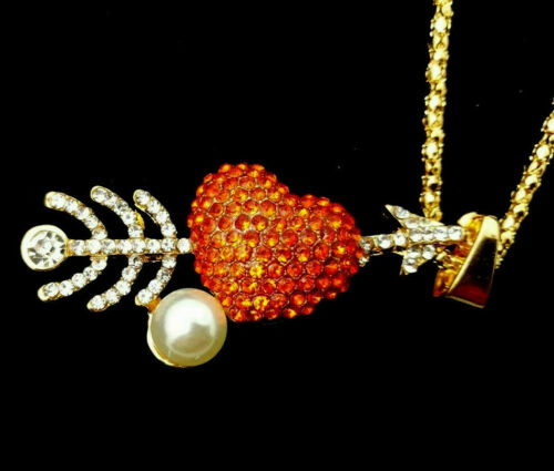 3D CUPID Arrow VALENTINE HEART Rhinestone Retro Vintage LOVE Necklace Red