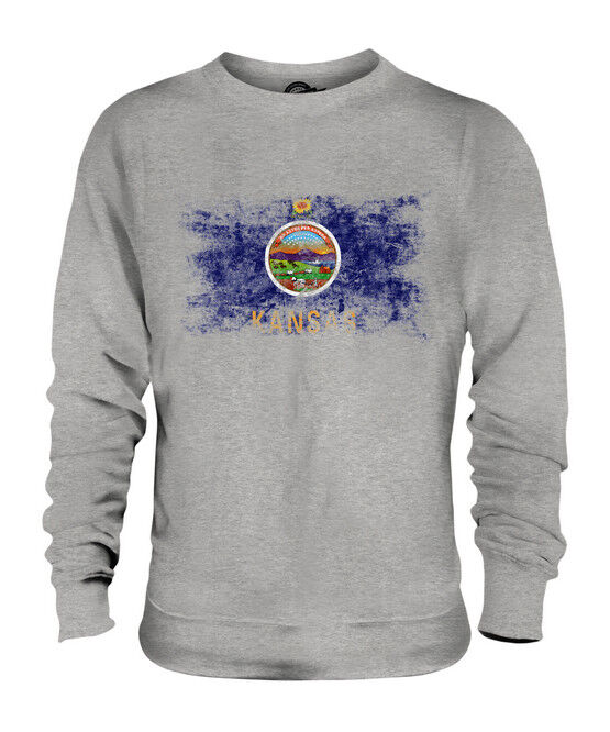 KANSAS STATE DISTRESSED FLAG UNISEX SWEATER TOP KANSAN SHIRT JERSEY GIFT