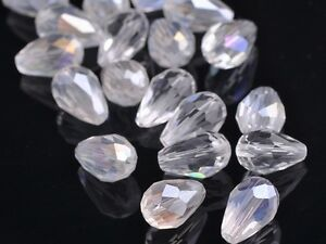 20pcs-Teardrop-Faceted-Crystal-Glass-Findings-Loose-Spacer-Beads-12X8mm-Clear-AB