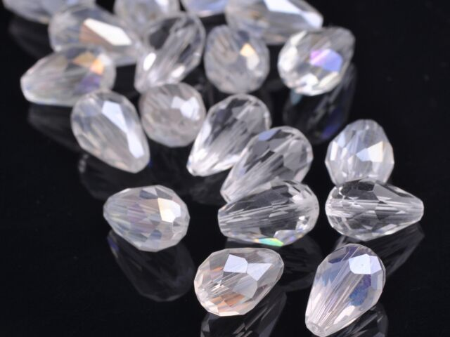 20pcs Teardrop Faceted Crystal Glass Findings Loose Spacer Beads 12X8mm Clear AB