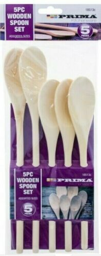 WOODEN SPOONS SET 5 pc KITCHEN COOKING BAKING MIXING SPOONS UTENSIL