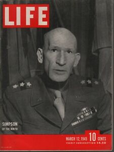 Life Magazine March 12 1945 Gen Simpson Iwo Jima Vintage WWII Ads 082019AME