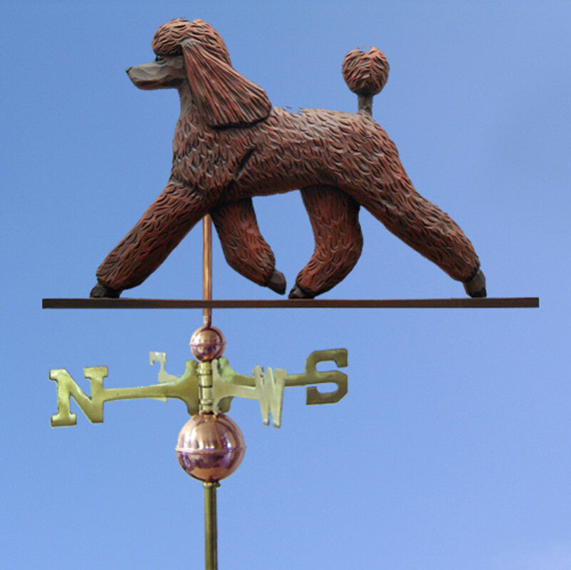 Poodle Hand Carved Hand Painted Basswood Dog Weathervane braun