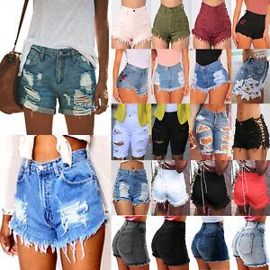 Damen Jeans Kurze Hosen High Waist Damenjeans Hüftjeans Hot Pant Bermudas Shorts
