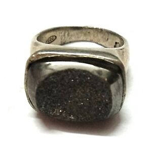 Natural-Tektite-Druzy-Gemstone-925-Sterling-Silver-Ring-Size-6-5