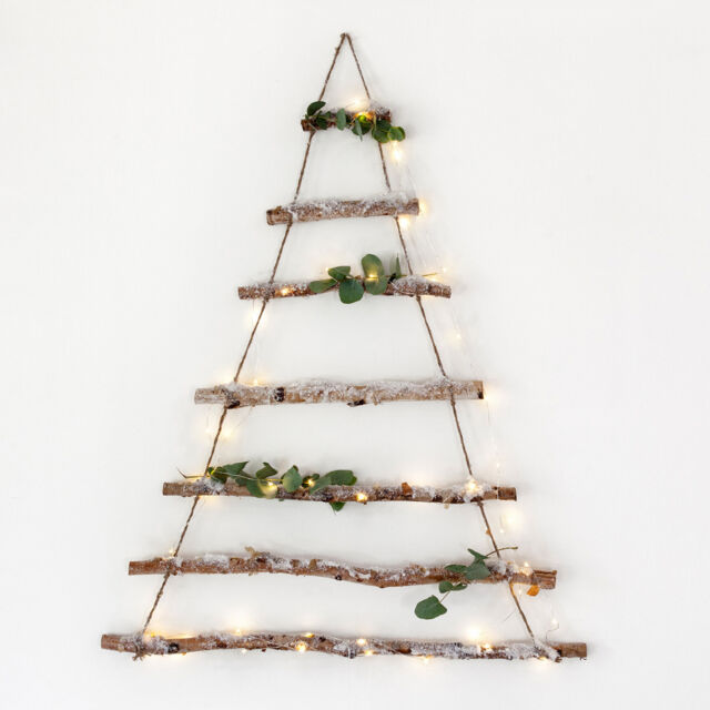 Birch Tree Branch Hanging Alternative Christmas Decoration with Snow Dusting