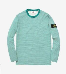 SUPREME-STONE-ISLAND-Men-039-s-Green-White-Striped-Long-Sleeve-Cotton-T-shirt-Medium