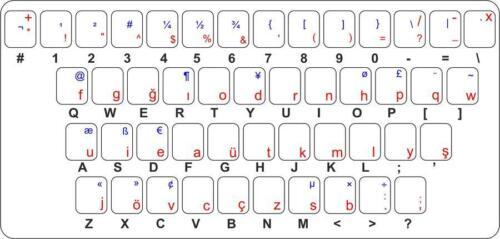 Sticker autocollant clavier alphabet lettre ordinateur turc turquie ottoman