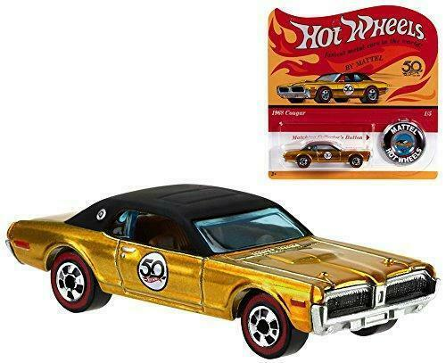 1968 Mercury Cougar Gold with Hot Wheels 50th Anniversary Redline Button 2017