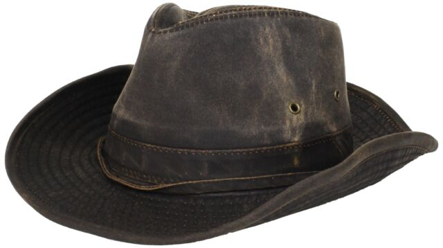 Dorfman-Pacific Weathered Cotton Outback Hat With Chin Cord Brown Medium 410fc51d189