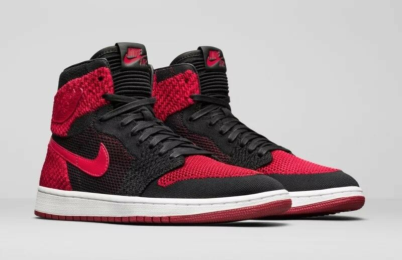 Nike Air Jordan Retro 1 Bred Banned Flyknit Size 13 DS black red 12.5 14