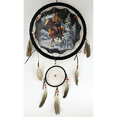 """13/"""" Indian Girl Wolf Cub Moon Dream Catcher Wall Hang Feathers Gift Pretty 1377"""