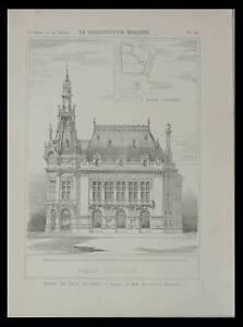 SENS, HOTEL DE VILLE - 1898 - PLANCHE ARCHITECTURE - DUPONT POIVERT - France - Thme: Architecture Période: XIXme et avant - France