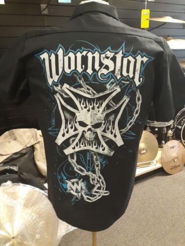 "Wornstar /""Iron Cross Skull/"" Rock and Roll Inspired Workshirt"