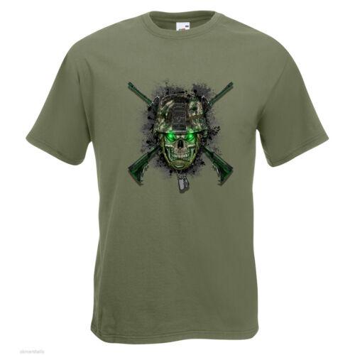 Skull Army Helmet Mens PRINTED T-SHIRT Firearms Gun Military Helmet